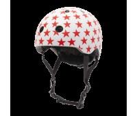 Велосипедный шлем Trybike 44 51см белый с красными звездочками (COCO 4XS)