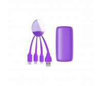 Внешн.порт.аккум.батареяXOOPAR - WEEKENDER (Li-Pol,5000мА*ч,фіол,с каб.Тype-C,Lighting,microUSB,USB)