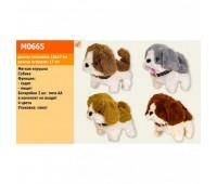 Мягкая игрушка M0665 (140шт/2) собачка,4 цвета, тявкает, ходит, 17 см в пакете *