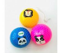 Мяч резиновый CY21005 (400шт) в сетке по 3 мяча, 10 см,6 цветов (цена за 3 шт) *