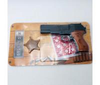 Шахаб Голд игрушечный револьвер с пистонами, значок (количество в коробке 36шт.) 282