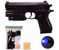 Пистолет K2119-G+ (168шт/2) пульки,свет,лазер,в пакете – 15.5*21.5 см, р-р игрушки – 18 см *