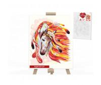 """Креативное творчество """"Картина по номерам на полотне"""" """"Огненная лощадь"""" 40см*50см(10)"""