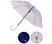 Зонт LED UM5216 (60шт/5) прозрачный, со светом, длина трости – 77 см, диаметр в раскрытом виде – 90