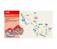 Доктор 3306 (158283) (144шт/2) 2 вида, стетоскоп, ножницы,пинцет, шприц,…в сумке 17*5*12см *