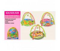 Коврик для малышей 024/025/029 (1647938/39/43) (24шт) с погремушками на дуге,3 вида, в сумке 62*66см