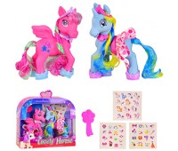 Пони 8080C (48 шт/2) 2 пони, наклейки,расческа,в кор. 25.3*7.8*22.3 см, р-р игрушки – 9*4*15.5 см *