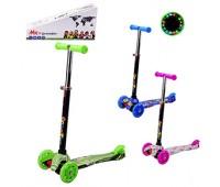 Самокат детский 3-х колёс HL-4105 (6 шт) 3 цвета, колеса PU свет, р-р упаковки - 55*14*27 см *