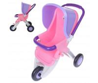 Коляска для кукол Polesie прогулочная 3-х колёсная розово-фиолетовая (48127-1)