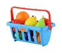 Игровой набор Polesie продуктов с корзинкой №2 (9 элементов) синий (46963-2)