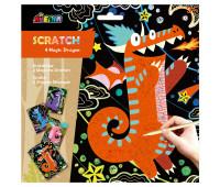 """CH1544 Набор для творчества, скретч-арт AVENIR """"Волшебные драконы"""", 4 раскраски"""