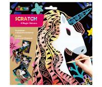 """CH1545 Набор для творчества, скретч-арт AVENIR """"Волшебные единороги"""", 4 раскраски"""