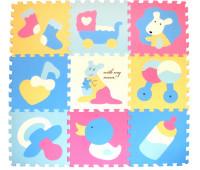 """GB-M129KL Детский коврик-пазл """"Маленький кенгуренок"""", 92х92 см, розово-голубой"""