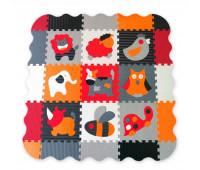 "GB-M129A4E Дитячий килимок-пазл ""Веселый зоопарк"", оранжево-серый, с бортиком, 122х122 см. Baby Great"