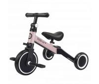 Детский трёхколёсный беговел-трансформер POPPET 3 в 1, чёрно-розовый