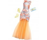 CFX92-8. Оранжевое платье с цветочным орнаментом и аксессуарами, Barbie. Mattel