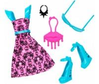 DXW87-5. Набор одежды, розове платье с голубыми туфельками. Monster High. Mattel