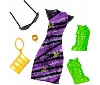DXW87-4. Набор одежды, фиолетовое платье с салатовыми туфлями. Monster High. Mattel