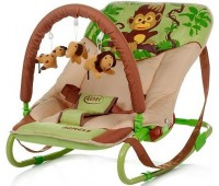 163. Шезлонг Jungle (Monkey) бежево-салатовый. 4 Baby