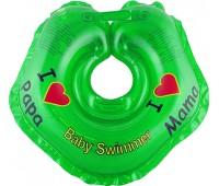 Серия Я Люблю. Круг на шею ТМ Baby Swimmer зеленый. Вес 3 - 12 кг