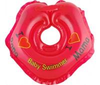 Серия Я Люблю. Круг на шею ТМ Baby Swimmer красный. Вес 3 - 12 кг