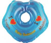 Серия Я Люблю. Круг на шею ТМ Baby Swimmer синий. Вес 3 - 12 кг