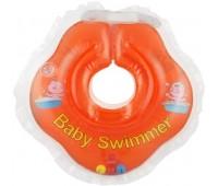 Серия Classic. Круг на шею ТМ Baby Swimmer оранжевый с погремушками. Вес 3 - 12 кг