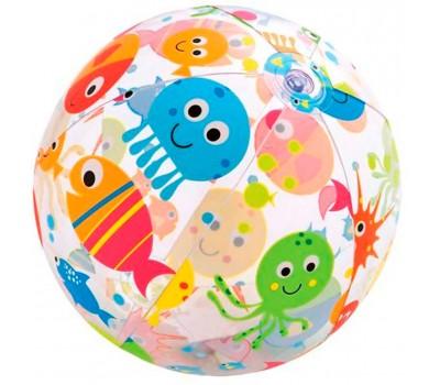 59040-2. Мяч надувной (прозрачный). Морские жители, 51 см. Intex