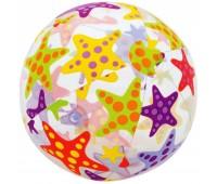 59040-3. Мяч надувной (прозрачный). Морские звезды, 51 см. Intex