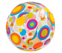59040-1. Мяч надувной (прозрачный). Разноцветные круги, 51 см. Intex