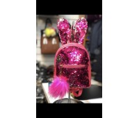 R0005 Модный рюкзак с пайетками с ушками и пушком