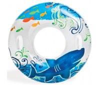 58263-1. Надувной круг c ручками Пестрый (97 см) дельфин. Intex