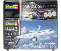 63937 Model Set Самолет Embraer 190 Lufthansa, 1:144, Revell