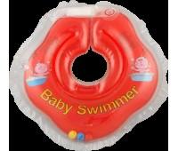 Серия Classic. Круг на шею ТМ Baby Swimmer красный с погремушками. Вес 3 - 12 кг