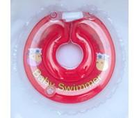 Круг на шею ТМ Baby Swimmer красный с погремушками. Вес 6 - 36 кг