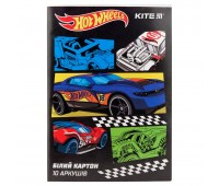 HW19-254 Картон белый односторонний Kite Hot Wheels HW19-254, А4, 10 листов, папка. Kite