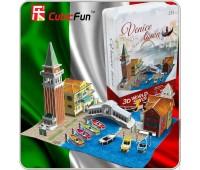 """CubicFun. Трехмерная головоломка-конструктор """"Италия Венеция"""" в жестяной коробке. P636t"""