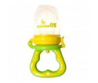 111113. Ниблер силиконовый для кормления младенца с дополнительной насадкой (салатовый). Kinderenok