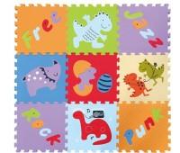 GB-M1602. Детский игровой коврик - пазл «Развлечения динозавров», 92х92 см. Baby Great