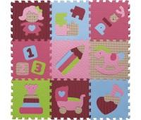 GB-M1707. Детский игровой коврик - пазл «Интересные игрушки», 92х92 см, розово-зеленый. Baby Great