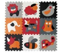 GB-M129A4. Детский игровой коврик - пазл «Веселый зоопарк», 92х92 см, оранжево-серый. Baby Great