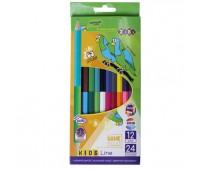 Цветные карандаши Double, 12 шт. (24 цвета), KIDS LINE