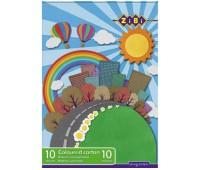 Картон кольоровий, А4, 10 кольорів - 10 аркушів, 230г/м2, KIDS Line *