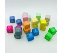 Кубики цветные с буквами 24 эл в картонной коробке *