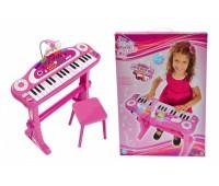 """Simba. Музыкальный инструмент""""Клавишные-парта. Девичий стиль"""" с микрофоном и стульчиком. 6830690"""