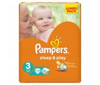 4015400203520. PAMPERS Детские подгузники Sleep & Play Midi 3 (4-9 кг) Джамбо 78