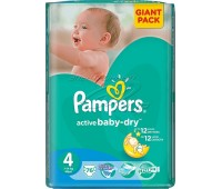 4015400737278. PAMPERS Детские подгузники Active Baby-Dry Maxi 4 (7-14 кг) Малая Мега Упаковка 106