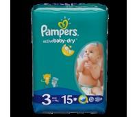 4015400583523. PAMPERS Детские подгузники Active Baby-Dry Midi 3 (4-9 кг) Микро Упаковка 15