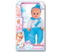 32001 Пупс Плей Беби, 32 см, с бутылочкой и горшком, в голубом комбинезоне, Play Baby