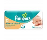 4015400636830. PAMPERS Детские влажные салфетки Natural Clean Сменный блок 64 ПрепакКороб